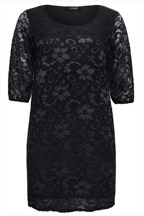Black Floral Stretch Lace Shift Dress With 3/4 Sleeves - style: shift; length: mini; neckline: round neck; predominant colour: black; occasions: evening; fit: body skimming; sleeve length: half sleeve; sleeve style: standard; texture group: lace; pattern type: fabric; pattern: patterned/print; embellishment: lace; season: a/w 2014