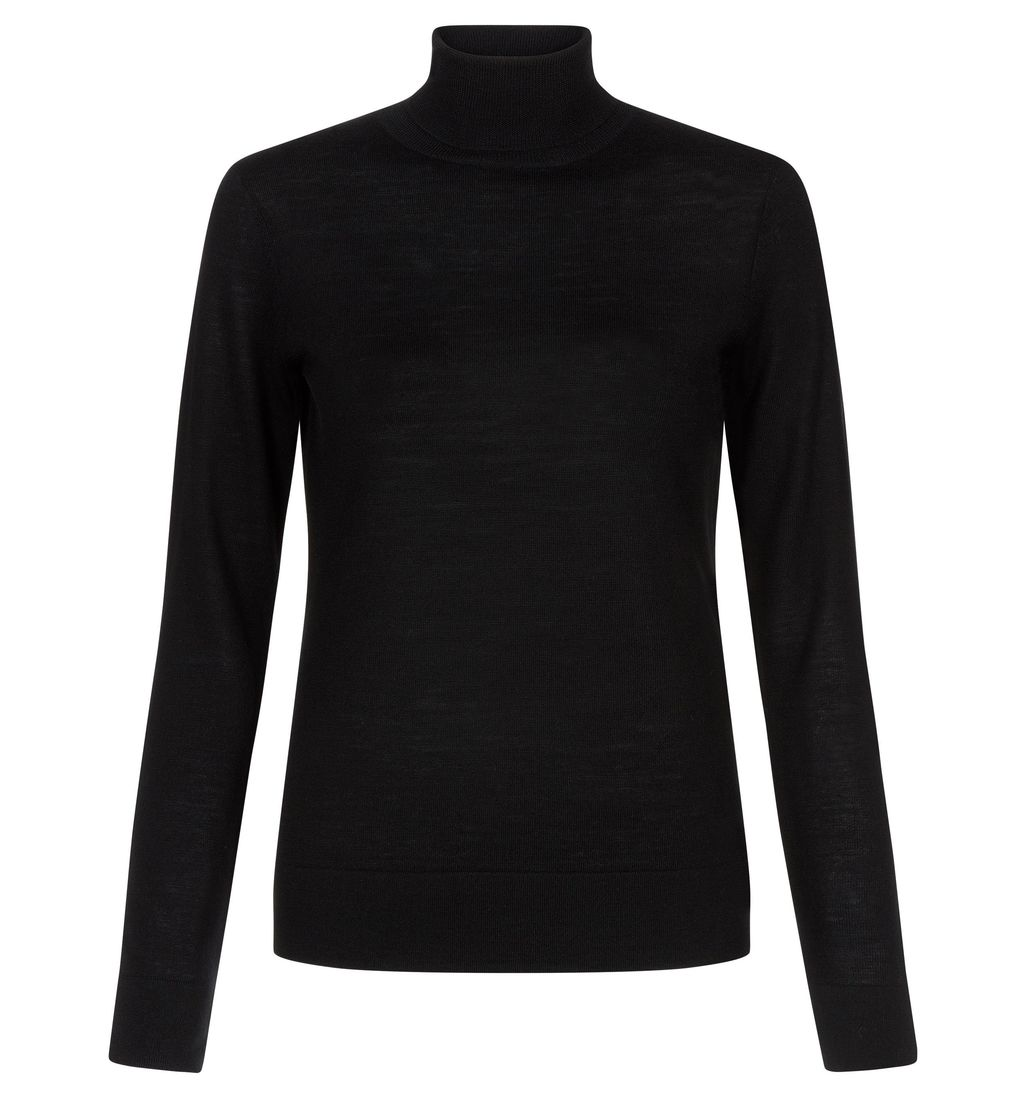 Lara Roll Neck, Black - pattern: plain; neckline: roll neck; style: standard; predominant colour: black; occasions: casual, creative work; length: standard; fibres: wool - 100%; fit: standard fit; sleeve length: long sleeve; sleeve style: standard; texture group: knits/crochet; pattern type: knitted - fine stitch; season: a/w 2014