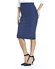 Jacqauard Skirt 29in - style: pencil; fit: tailored/fitted; waist: high rise; predominant colour: royal blue; occasions: work, creative work; length: on the knee; fibres: polyester/polyamide - mix; pattern type: fabric; pattern: patterned/print; texture group: brocade/jacquard; season: a/w 2014; pattern size: big & busy (bottom)