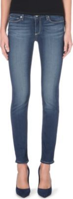 Skyline Skinny Mid Rise Jeans, Women's, Easton - style: skinny leg; pattern: plain; pocket detail: traditional 5 pocket; waist: mid/regular rise; predominant colour: denim; occasions: casual, evening; length: ankle length; fibres: cotton - stretch; jeans detail: whiskering, shading down centre of thigh; texture group: denim; pattern type: fabric; season: a/w 2014
