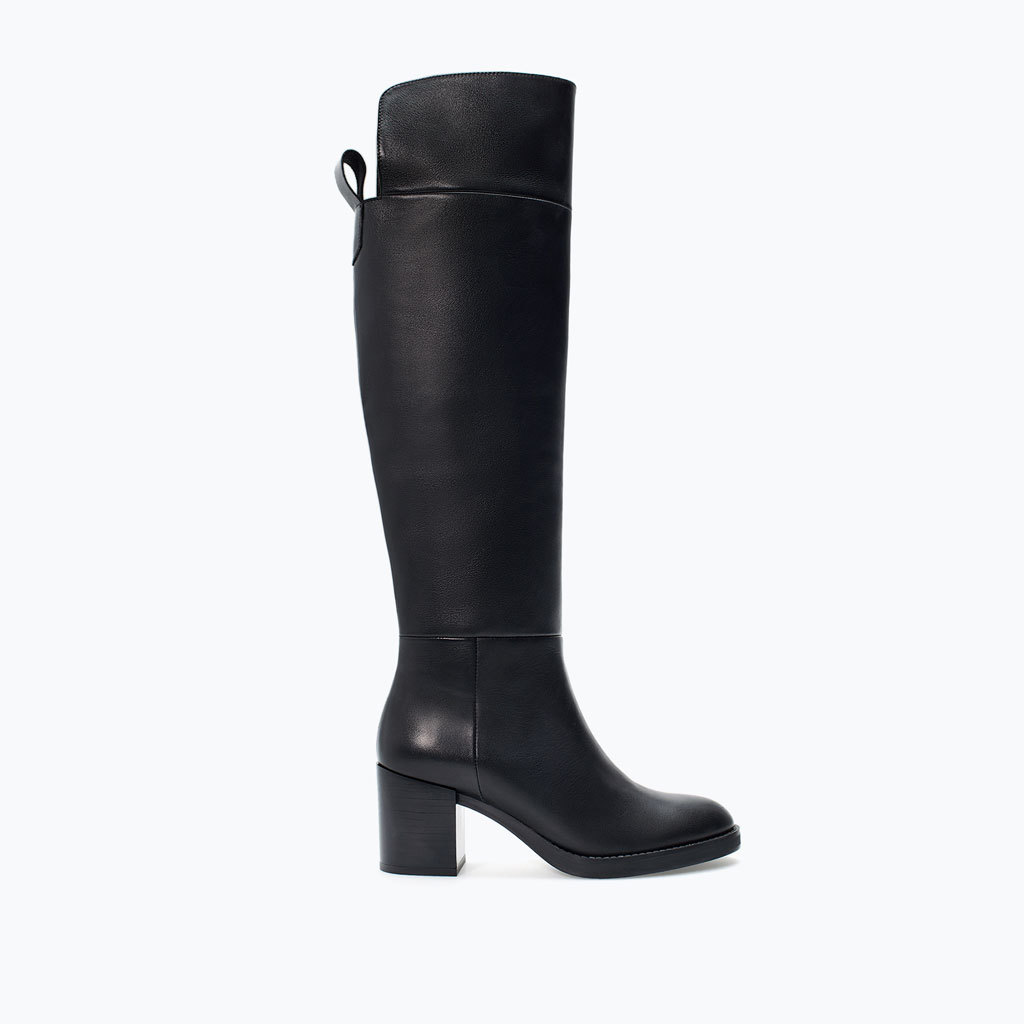 Two Tone Leather High Heeled Boot - predominant colour: black; occasions: casual, creative work; material: leather; heel height: mid; heel: block; toe: round toe; boot length: knee; style: standard; finish: plain; pattern: plain; season: a/w 2014