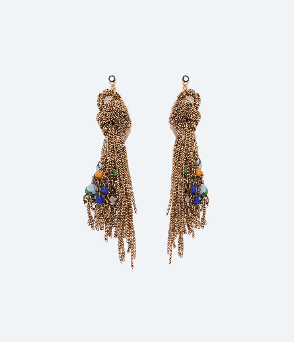 Chain Knot Earrings - predominant colour: gold; occasions: casual, evening, creative work; style: drop; length: long; size: standard; material: chain/metal; fastening: pierced; finish: plain; embellishment: beading; season: a/w 2014