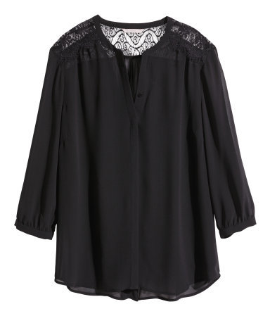+ Lace Blouse - pattern: plain; length: below the bottom; style: blouse; predominant colour: black; occasions: casual, evening, creative work; neckline: collarstand & mandarin with v-neck; fibres: polyester/polyamide - 100%; fit: loose; sleeve length: 3/4 length; sleeve style: standard; texture group: sheer fabrics/chiffon/organza etc.; season: a/w 2014; embellishment: contrast fabric; embellishment location: shoulder