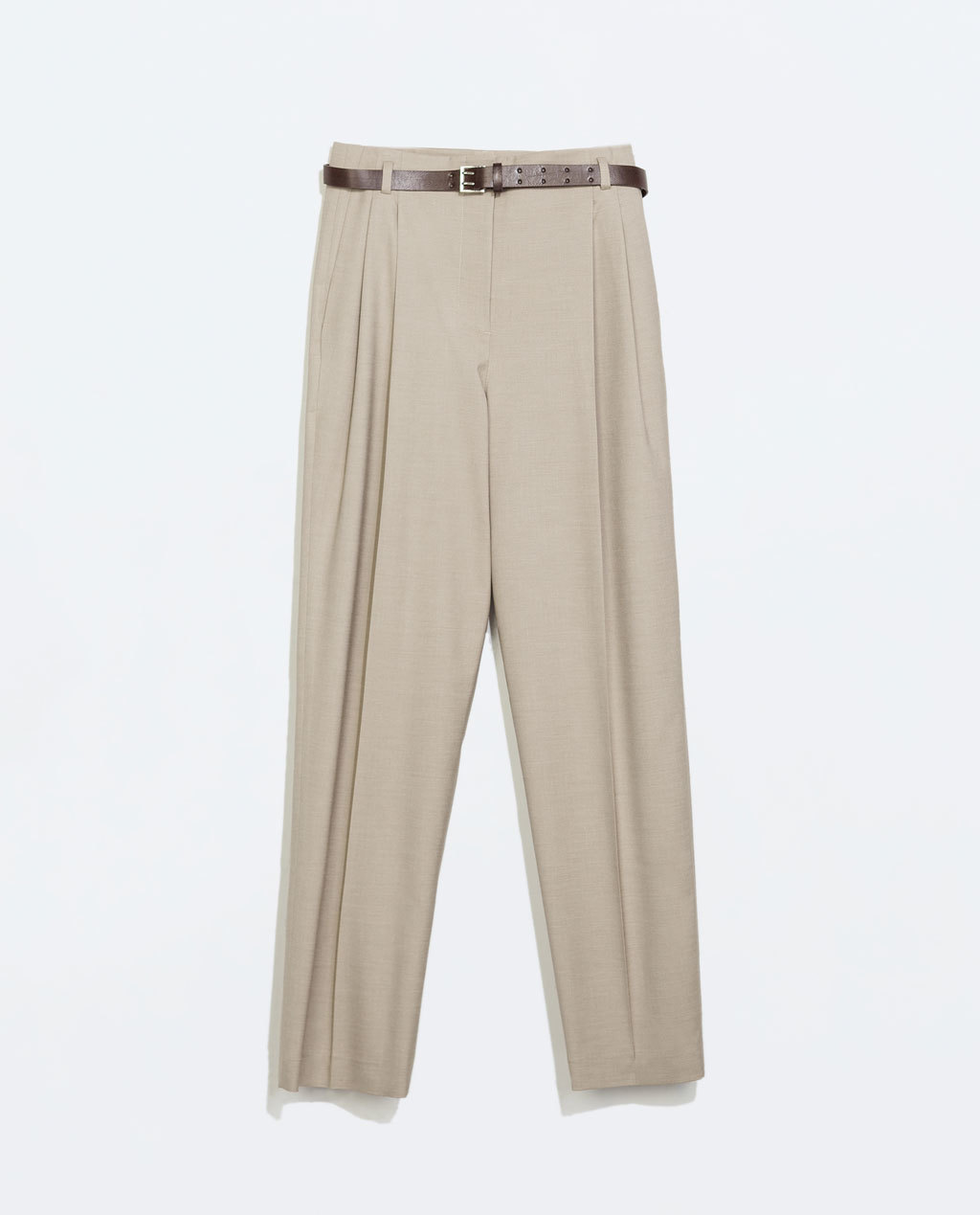 High Waisted Trousers With Belt - length: standard; pattern: plain; pocket detail: small back pockets, pockets at the sides; waist: high rise; waist detail: belted waist/tie at waist/drawstring; predominant colour: stone; occasions: casual, creative work; fibres: polyester/polyamide - stretch; fit: straight leg; texture group: woven light midweight; style: standard; season: a/w 2014