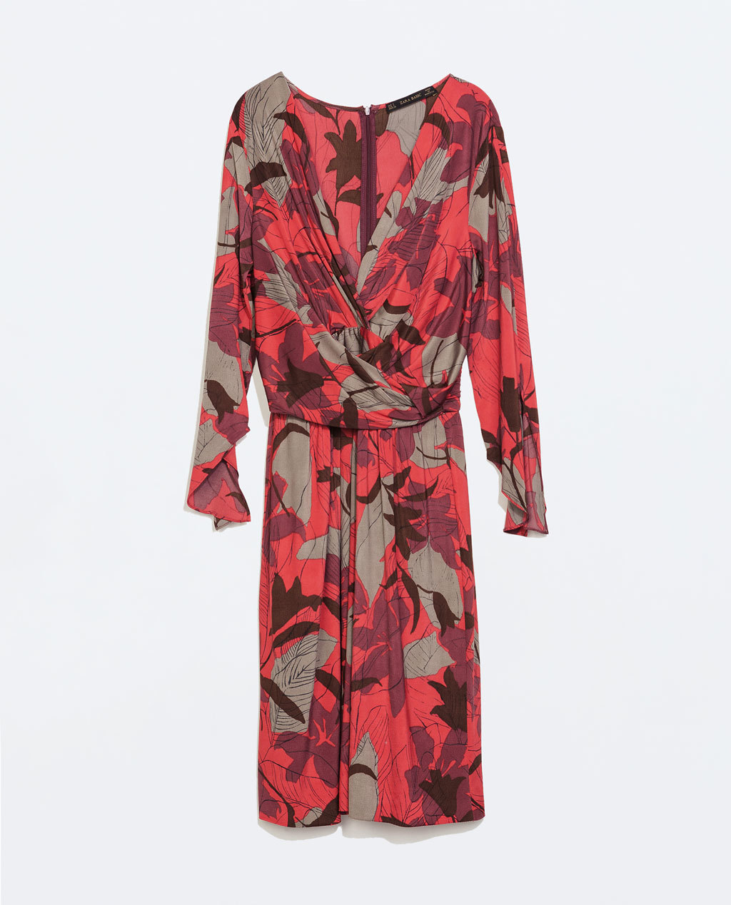 Floral Wrap Dress - style: faux wrap/wrap; neckline: low v-neck; sleeve style: dolman/batwing; bust detail: subtle bust detail; predominant colour: bright orange; occasions: casual, occasion, creative work; length: on the knee; fit: body skimming; fibres: polyester/polyamide - stretch; sleeve length: long sleeve; pattern type: fabric; pattern size: big & busy; pattern: florals; texture group: jersey - stretchy/drapey; season: a/w 2014; wardrobe: highlight