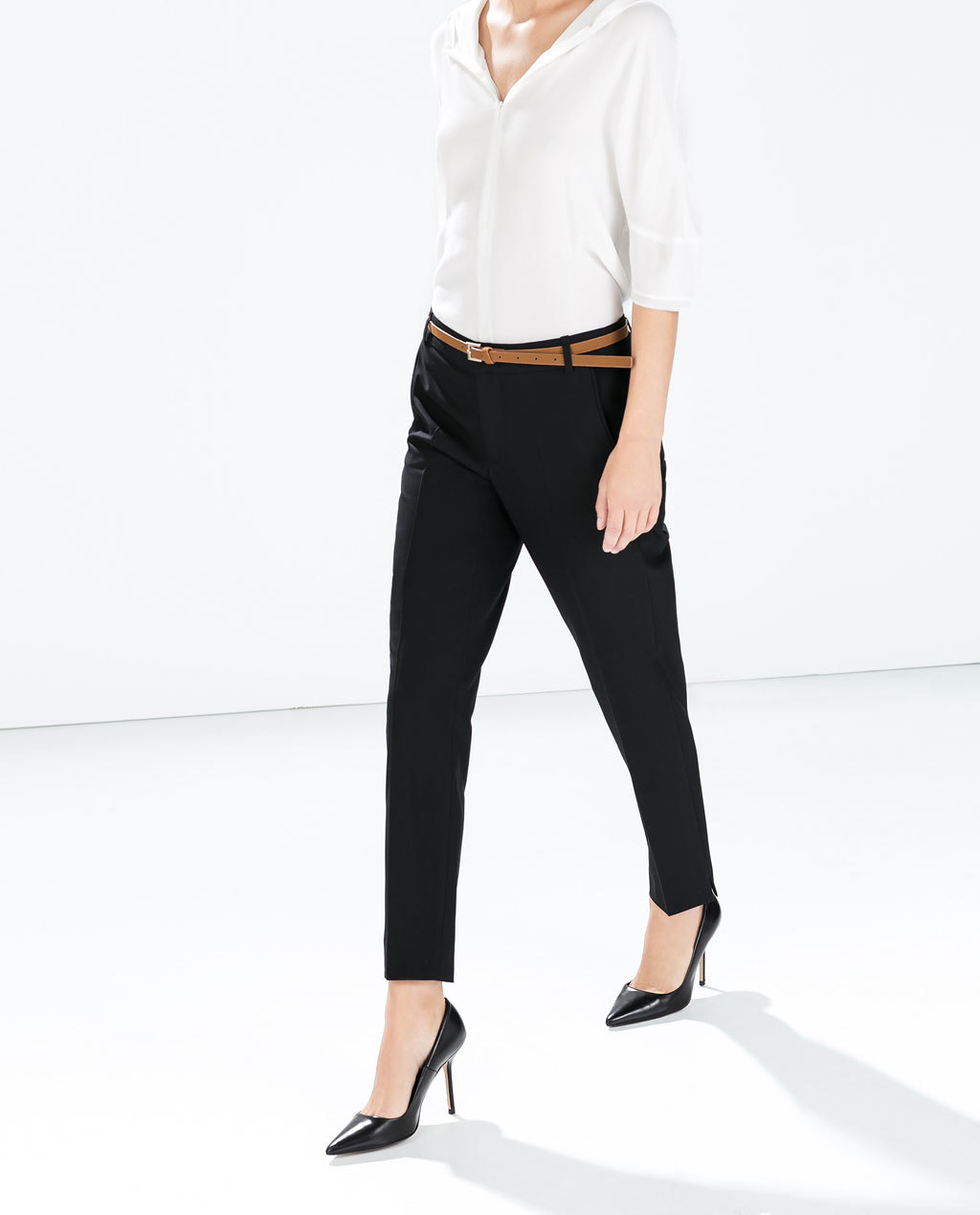 Cool Wool Cropped Trousers - pattern: plain; pocket detail: small back pockets, pockets at the sides; waist detail: belted waist/tie at waist/drawstring; waist: mid/regular rise; predominant colour: black; occasions: casual, work, creative work; length: ankle length; fibres: polyester/polyamide - stretch; fit: slim leg; texture group: woven light midweight; style: standard; season: a/w 2014