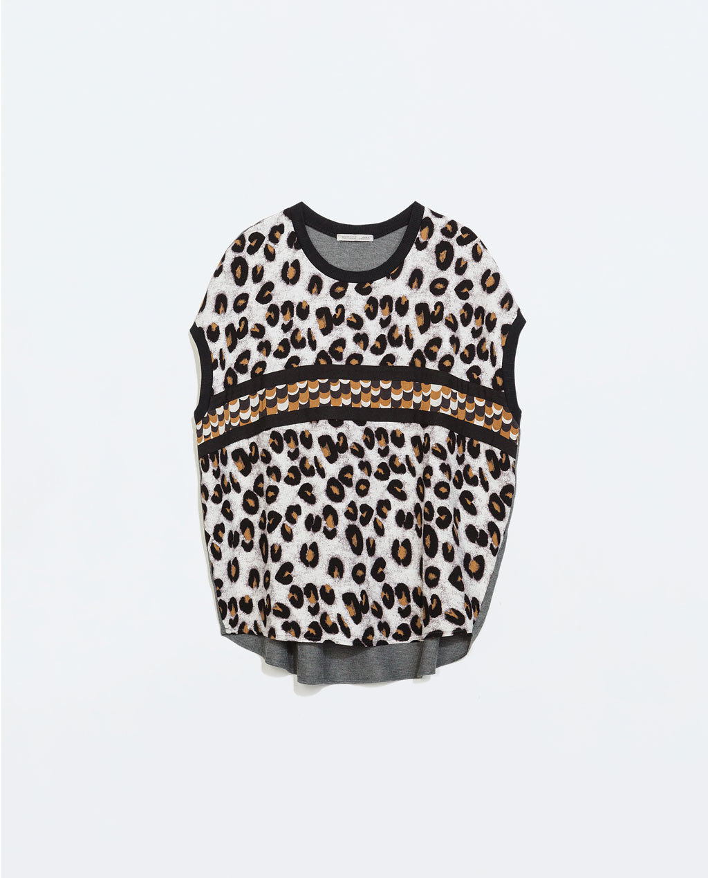 Animal Print T Shirt - neckline: round neck; style: t-shirt; predominant colour: white; secondary colour: chocolate brown; occasions: casual; length: standard; fibres: polyester/polyamide - stretch; fit: loose; sleeve length: short sleeve; sleeve style: standard; pattern type: fabric; pattern size: standard; pattern: animal print; texture group: other - light to midweight; season: a/w 2014