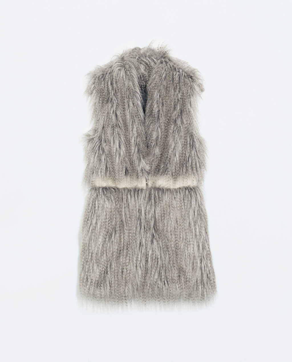 Fur Vest With Waist Seam - pattern: plain; sleeve style: sleeveless; style: gilet; collar: round collar/collarless; length: below the bottom; predominant colour: mid grey; occasions: casual, evening, creative work; fit: straight cut (boxy); fibres: acrylic - mix; sleeve length: sleeveless; texture group: fur; collar break: medium; pattern type: fabric; season: a/w 2014; trends: warm and fuzzy