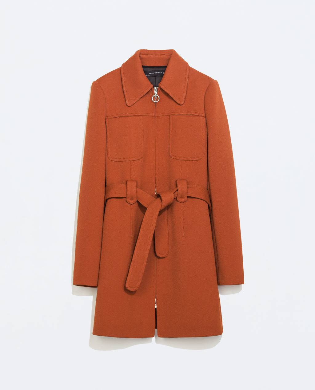 Coat With Front Pockets - pattern: plain; style: single breasted; length: mid thigh; predominant colour: bright orange; occasions: casual, creative work; fit: straight cut (boxy); fibres: polyester/polyamide - stretch; collar: shirt collar/peter pan/zip with opening; waist detail: belted waist/tie at waist/drawstring; sleeve length: long sleeve; sleeve style: standard; collar break: high; texture group: woven light midweight; trends: zesty shades, outerwear chic; season: a/w 2014