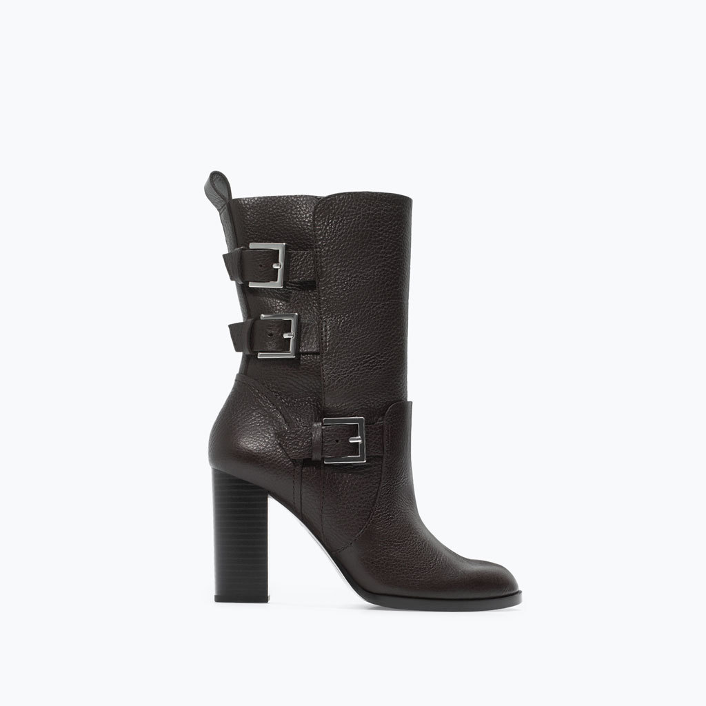 Leather High Heeled Buckled Bootie - predominant colour: chocolate brown; occasions: casual, creative work; material: leather; heel height: high; embellishment: buckles; heel: block; toe: round toe; boot length: mid calf; style: biker boot; finish: plain; pattern: plain; season: a/w 2014