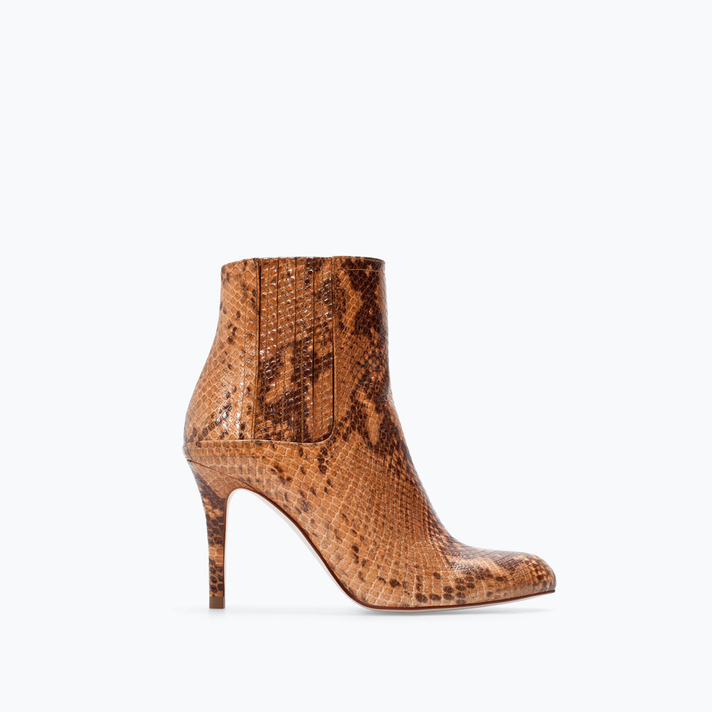High Heeled Printed Leather Bootie - secondary colour: chocolate brown; predominant colour: camel; material: leather; heel height: high; heel: stiletto; toe: pointed toe; boot length: ankle boot; style: standard; finish: plain; pattern: animal print; occasions: creative work; season: a/w 2014
