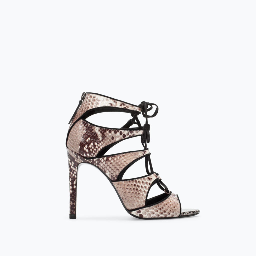 High Heeled Snake Print Leather Sandal - predominant colour: taupe; secondary colour: black; occasions: evening, occasion; material: leather; heel height: high; ankle detail: ankle strap; heel: stiletto; toe: open toe/peeptoe; style: strappy; finish: plain; pattern: animal print; season: a/w 2014