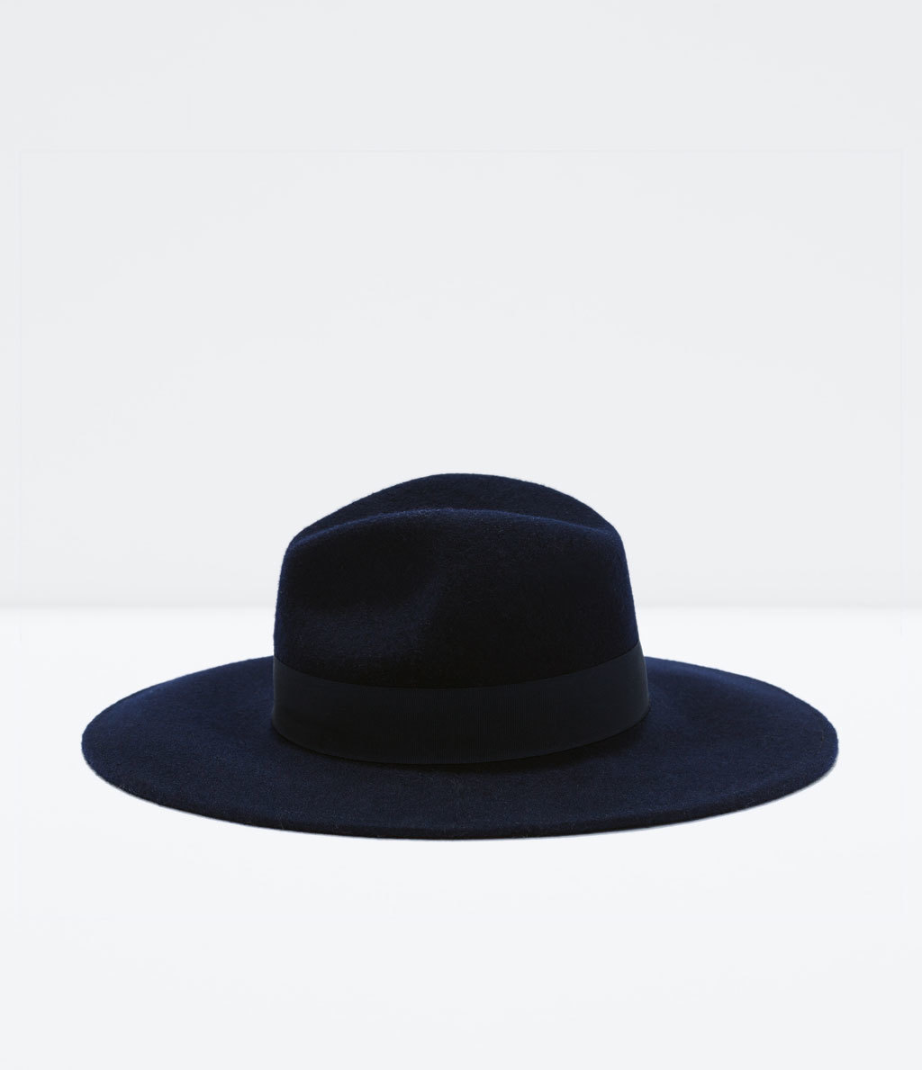 Wide Brim Felt Hat - predominant colour: black; occasions: casual; style: wide brimmed; size: standard; material: fabric; pattern: plain; season: a/w 2014