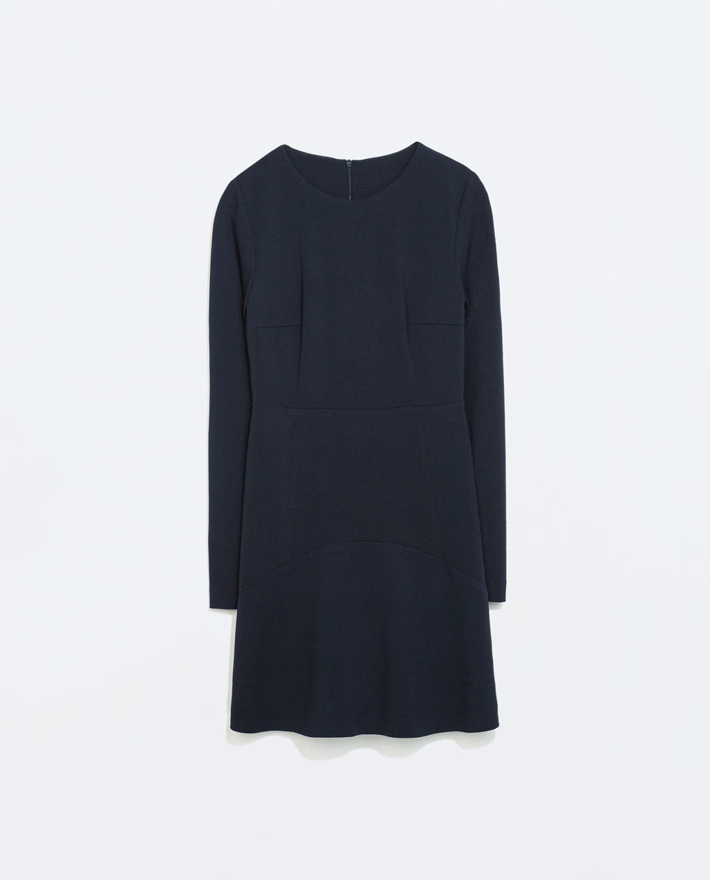 Dress With Layered Skirt - style: shift; length: mid thigh; neckline: round neck; pattern: plain; predominant colour: navy; occasions: casual, evening, occasion, creative work; fit: body skimming; fibres: polyester/polyamide - stretch; sleeve length: long sleeve; sleeve style: standard; texture group: jersey - stretchy/drapey; trends: minimal sleek; season: a/w 2014