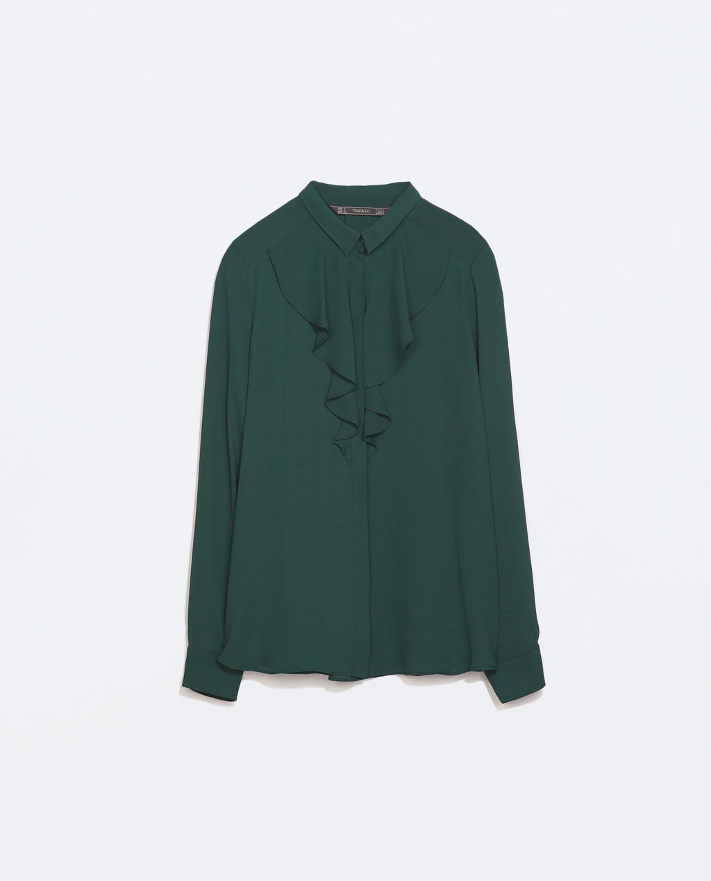 Frilly Shirt - neckline: shirt collar/peter pan/zip with opening; pattern: plain; length: below the bottom; style: shirt; bust detail: subtle bust detail; predominant colour: dark green; occasions: casual, work, creative work; fibres: polyester/polyamide - 100%; fit: straight cut; sleeve length: long sleeve; sleeve style: standard; texture group: sheer fabrics/chiffon/organza etc.; pattern type: fabric; season: a/w 2014; wardrobe: highlight