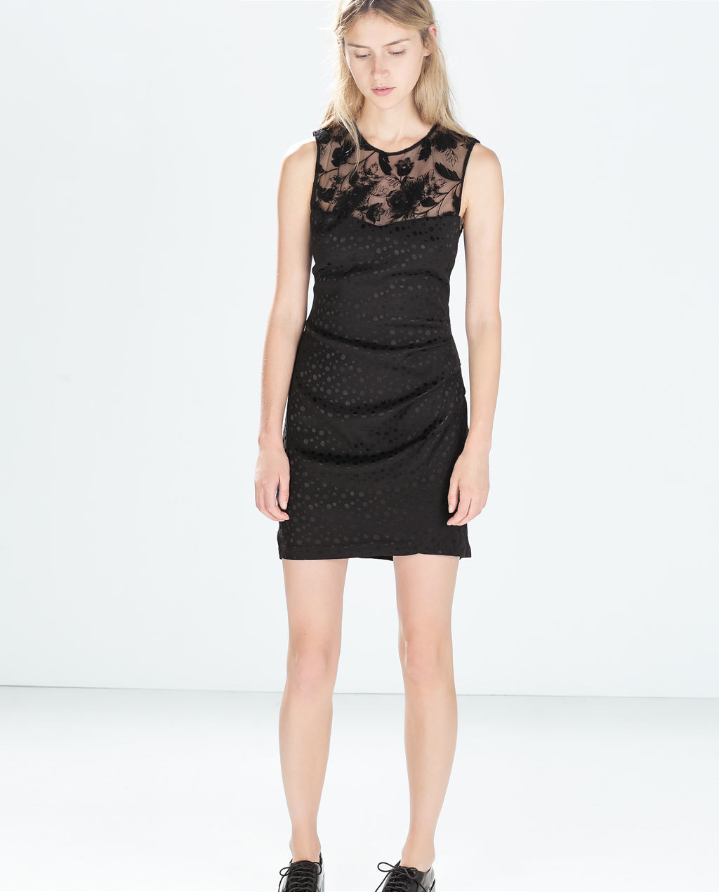 Combined Dress - style: shift; length: mid thigh; neckline: round neck; fit: tailored/fitted; pattern: plain; sleeve style: sleeveless; predominant colour: black; occasions: evening, occasion; sleeve length: sleeveless; texture group: jersey - stretchy/drapey; fibres: viscose/rayon - mix; embellishment: lace; season: a/w 2014; shoulder detail: sheer at shoulder