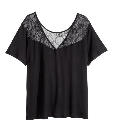 + Lace Top - neckline: low v-neck; pattern: plain; predominant colour: black; occasions: casual, work, creative work; length: standard; style: top; fibres: viscose/rayon - 100%; fit: loose; sleeve length: short sleeve; sleeve style: standard; texture group: jersey - stretchy/drapey; embellishment: lace; season: a/w 2014; shoulder detail: sheer at shoulder