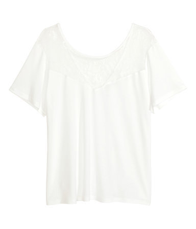 + Lace Top - neckline: low v-neck; pattern: plain; predominant colour: white; occasions: casual; length: standard; style: top; fibres: viscose/rayon - 100%; fit: body skimming; sleeve length: short sleeve; sleeve style: standard; texture group: jersey - stretchy/drapey; embellishment: lace; season: a/w 2014