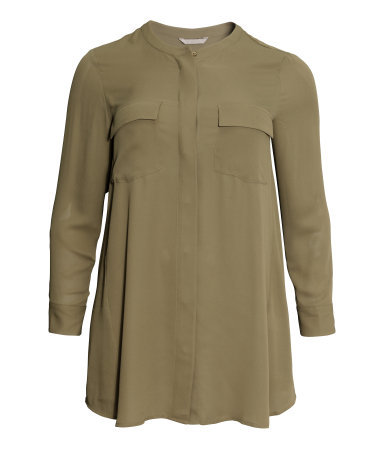 + Long Blouse - pattern: plain; length: below the bottom; style: blouse; predominant colour: khaki; occasions: casual, creative work; neckline: collarstand; fibres: polyester/polyamide - 100%; fit: loose; sleeve length: long sleeve; sleeve style: standard; texture group: other - light to midweight; season: a/w 2014