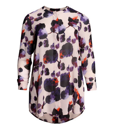 + Long Blouse - length: below the bottom; style: blouse; predominant colour: blush; secondary colour: purple; occasions: casual, creative work; neckline: collarstand; fibres: polyester/polyamide - 100%; fit: loose; sleeve length: long sleeve; sleeve style: standard; pattern type: fabric; pattern size: standard; pattern: florals; texture group: other - light to midweight; season: a/w 2014