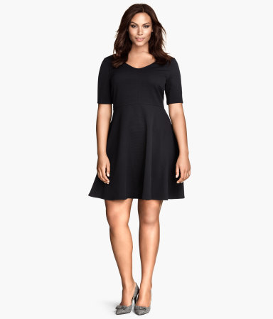 + Jersey Dress - length: mid thigh; neckline: low v-neck; pattern: plain; predominant colour: black; occasions: casual, evening, occasion, creative work; fit: fitted at waist & bust; style: fit & flare; fibres: polyester/polyamide - stretch; sleeve length: short sleeve; sleeve style: standard; texture group: jersey - stretchy/drapey; trends: minimal sleek; season: a/w 2014