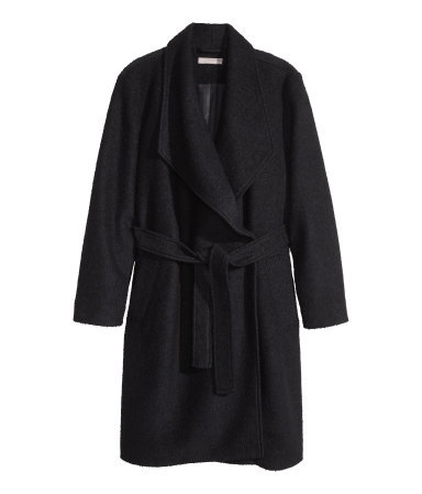 + Coat In A Wool Mix - pattern: plain; collar: shawl/waterfall; style: single breasted; length: on the knee; predominant colour: black; occasions: casual, work, creative work; fit: tailored/fitted; fibres: polyester/polyamide - mix; waist detail: belted waist/tie at waist/drawstring; sleeve length: long sleeve; sleeve style: standard; collar break: medium; texture group: woven light midweight; season: a/w 2014