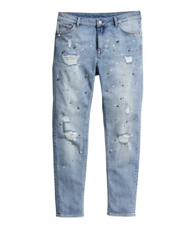 Girlfriend Jeans - style: boyfriend; length: standard; pattern: plain; pocket detail: traditional 5 pocket; waist: mid/regular rise; predominant colour: pale blue; occasions: casual, creative work; fibres: cotton - stretch; jeans detail: shading down centre of thigh, washed/faded; texture group: denim; pattern type: fabric; embellishment: studs; season: a/w 2014; wardrobe: basic; embellishment location: pattern