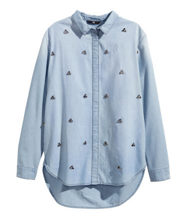 Denim Shirt With Sparkly Gems - neckline: shirt collar/peter pan/zip with opening; pattern: plain; length: below the bottom; style: shirt; predominant colour: pale blue; occasions: casual; fibres: cotton - 100%; fit: straight cut; sleeve length: long sleeve; sleeve style: standard; texture group: denim; pattern type: fabric; embellishment: jewels/stone; season: a/w 2014; wardrobe: highlight; embellishment location: all over