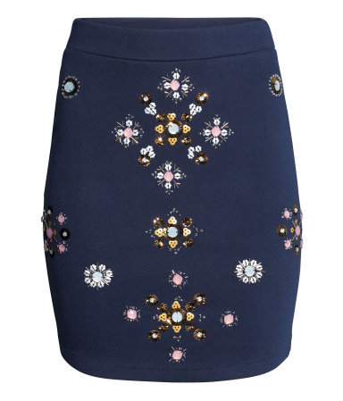 Beaded Skirt - length: mid thigh; pattern: plain; fit: tight; waist detail: wide waistband/cummerbund; waist: mid/regular rise; secondary colour: white; predominant colour: royal blue; occasions: evening, occasion, creative work; style: mini skirt; fibres: cotton - 100%; pattern type: fabric; texture group: jersey - stretchy/drapey; embellishment: beading; trends: zesty shades, artesanal details; season: a/w 2014; pattern size: standard (bottom)