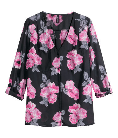 V Neck Blouse - neckline: v-neck; style: blouse; secondary colour: pink; predominant colour: black; occasions: casual; length: standard; fibres: polyester/polyamide - 100%; fit: straight cut; sleeve length: 3/4 length; sleeve style: standard; pattern type: fabric; pattern size: standard; pattern: florals; texture group: other - light to midweight; season: a/w 2014