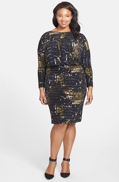 Print Shutter Pleat Jersey Blouson Dress (Plus Size) - style: shift; neckline: slash/boat neckline; predominant colour: black; occasions: evening, creative work; length: on the knee; fit: body skimming; fibres: polyester/polyamide - stretch; sleeve length: long sleeve; sleeve style: standard; pattern type: fabric; pattern: patterned/print; texture group: jersey - stretchy/drapey; season: a/w 2014