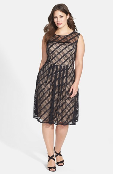 'sweetheart' Plaid Lace Dress (Plus Size) - length: below the knee; neckline: round neck; sleeve style: sleeveless; pattern: checked/gingham; predominant colour: black; occasions: evening, occasion; fit: fitted at waist & bust; style: fit & flare; fibres: polyester/polyamide - 100%; hip detail: soft pleats at hip/draping at hip/flared at hip; sleeve length: sleeveless; texture group: sheer fabrics/chiffon/organza etc.; pattern type: fabric; season: a/w 2014