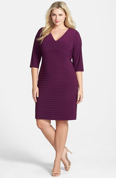 Banded Jersey Sheath Dress (Plus Size) - style: shift; neckline: low v-neck; pattern: plain; predominant colour: aubergine; occasions: evening, occasion; length: on the knee; fit: body skimming; fibres: polyester/polyamide - stretch; hip detail: adds bulk at the hips; sleeve length: 3/4 length; sleeve style: standard; pattern type: fabric; texture group: jersey - stretchy/drapey; season: a/w 2014
