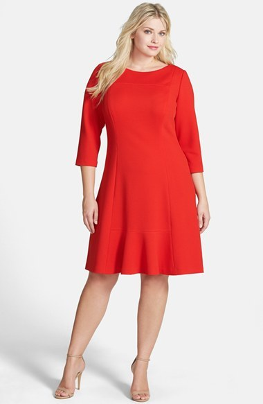 Knit Flounce Dress (Plus Size) - neckline: round neck; pattern: plain; predominant colour: true red; occasions: casual, evening, creative work; length: on the knee; fit: soft a-line; fibres: polyester/polyamide - 100%; hip detail: subtle/flattering hip detail; sleeve length: 3/4 length; sleeve style: standard; texture group: jersey - stretchy/drapey; season: a/w 2014