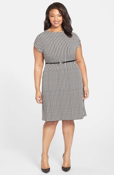 Belted Floral Print Dress (Plus Size) - neckline: round neck; waist detail: belted waist/tie at waist/drawstring; predominant colour: mid grey; secondary colour: light grey; occasions: casual, work; length: on the knee; fit: fitted at waist & bust; fibres: polyester/polyamide - stretch; sleeve length: short sleeve; sleeve style: standard; pattern type: fabric; pattern size: standard; pattern: florals; texture group: other - light to midweight; season: a/w 2014