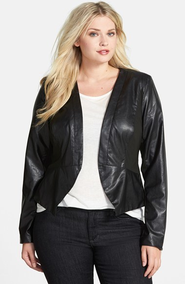 Cutaway Faux Leather Jacket (Plus Size) - pattern: plain; style: biker; predominant colour: black; occasions: casual, creative work; length: standard; fit: tailored/fitted; fibres: polyester/polyamide - stretch; sleeve length: long sleeve; sleeve style: standard; texture group: leather; collar break: low/open; pattern type: fabric; season: a/w 2014