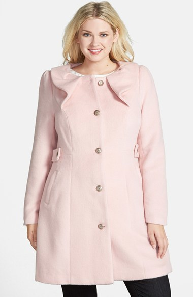 Princess Coat (Plus Size) - pattern: plain; collar: round collar/collarless; style: single breasted; length: mid thigh; predominant colour: blush; occasions: casual, creative work; fit: tailored/fitted; fibres: polyester/polyamide - mix; sleeve length: long sleeve; sleeve style: standard; collar break: high; texture group: woven bulky/heavy; season: a/w 2014