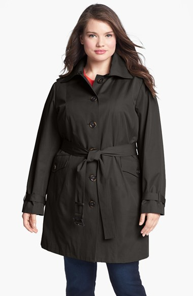 Belted Trench With Detachable Liner (Plus Size) - pattern: plain; style: single breasted; length: mid thigh; predominant colour: black; occasions: casual; fit: tailored/fitted; fibres: cotton - mix; collar: shirt collar/peter pan/zip with opening; waist detail: belted waist/tie at waist/drawstring; sleeve length: long sleeve; sleeve style: standard; texture group: technical outdoor fabrics; collar break: high; season: a/w 2014