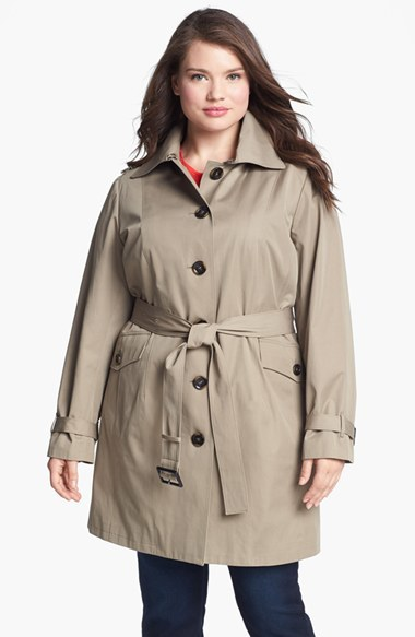 Belted Trench With Detachable Liner (Plus Size) - pattern: plain; style: mac; length: mid thigh; predominant colour: stone; secondary colour: black; occasions: casual, work, creative work; fit: tailored/fitted; fibres: cotton - mix; collar: shirt collar/peter pan/zip with opening; waist detail: belted waist/tie at waist/drawstring; sleeve length: long sleeve; sleeve style: standard; texture group: cotton feel fabrics; collar break: high; pattern type: fabric; season: a/w 2014; embellishment location: back