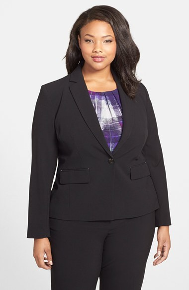 One Button Blazer (Plus Size) - pattern: plain; style: single breasted blazer; collar: standard lapel/rever collar; predominant colour: black; occasions: work, occasion, creative work; length: standard; fit: tailored/fitted; fibres: polyester/polyamide - stretch; hip detail: subtle/flattering hip detail; sleeve length: long sleeve; sleeve style: standard; collar break: medium; pattern type: fabric; texture group: woven light midweight; season: a/w 2014