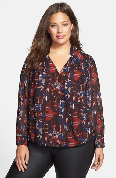 Floral Plaid Faux Wrap Blouse (Plus Size) - style: blouse; predominant colour: burgundy; secondary colour: navy; occasions: casual; length: standard; neckline: collarstand & mandarin with v-neck; fibres: polyester/polyamide - 100%; fit: body skimming; sleeve length: long sleeve; sleeve style: standard; texture group: sheer fabrics/chiffon/organza etc.; pattern type: fabric; pattern: patterned/print; season: a/w 2014