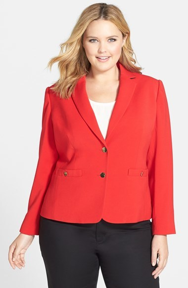 Two Button Jacket (Plus Size) - pattern: plain; style: single breasted blazer; collar: standard lapel/rever collar; predominant colour: coral; occasions: work, occasion, creative work; length: standard; fit: tailored/fitted; fibres: polyester/polyamide - stretch; sleeve length: long sleeve; sleeve style: standard; collar break: medium; pattern type: fabric; texture group: other - light to midweight; trends: zesty shades; season: a/w 2014