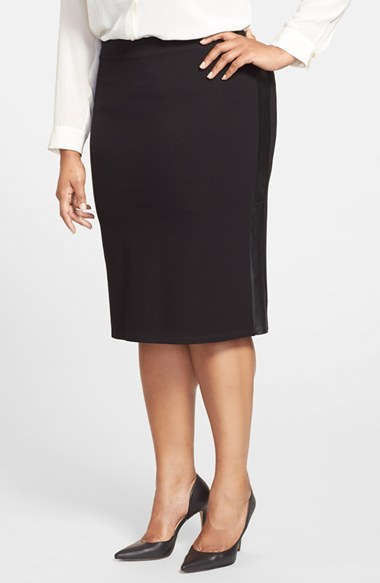 Leather Trim Stretch Ponte Pencil Skirt (Plus Size) - length: below the knee; pattern: plain; style: pencil; fit: tailored/fitted; waist: mid/regular rise; predominant colour: black; occasions: evening, work; fibres: viscose/rayon - stretch; pattern type: fabric; texture group: woven light midweight; season: a/w 2014