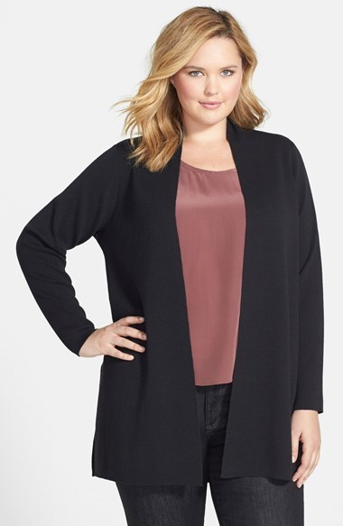 Wool Crepe Jersey Cardigan (Plus Size) - pattern: plain; length: below the bottom; neckline: collarless open; predominant colour: black; occasions: casual, work, creative work; style: standard; fibres: wool - 100%; fit: standard fit; sleeve length: long sleeve; sleeve style: standard; pattern type: fabric; texture group: jersey - stretchy/drapey; trends: statement knits; season: a/w 2014
