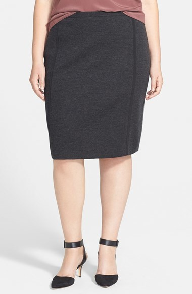 Merino Straight Skirt (Plus Size) - pattern: plain; style: pencil; fit: tailored/fitted; waist: mid/regular rise; predominant colour: charcoal; occasions: work; length: on the knee; fibres: wool - 100%; pattern type: fabric; texture group: woven light midweight; season: a/w 2014