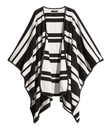 Striped Cape - pattern: striped; length: below the bottom; neckline: collarless open; secondary colour: ivory/cream; predominant colour: black; occasions: casual, creative work; style: cape style; fibres: polyester/polyamide - mix; fit: loose; sleeve length: long sleeve; texture group: knits/crochet; pattern type: fabric; sleeve style: cape/poncho sleeve; trends: outerwear chic; season: a/w 2014; pattern size: big & busy (top)