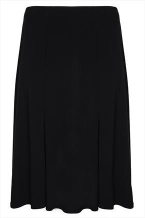 Black Midi Flared Skirt With Elasticated Waist - length: below the knee; pattern: plain; fit: loose/voluminous; style: pleated; waist: high rise; predominant colour: black; occasions: casual; fibres: polyester/polyamide - stretch; hip detail: soft pleats at hip/draping at hip/flared at hip; pattern type: fabric; texture group: jersey - stretchy/drapey; season: a/w 2014