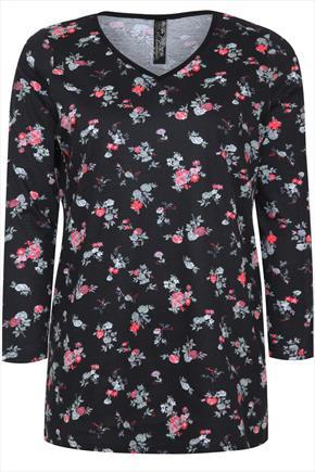 Black & Red Ditsy Floral Print Long Sleeved T Shirt - neckline: v-neck; style: t-shirt; secondary colour: aubergine; predominant colour: black; occasions: casual; length: standard; fibres: cotton - 100%; fit: body skimming; sleeve length: 3/4 length; sleeve style: standard; pattern size: standard; pattern: florals; texture group: jersey - stretchy/drapey; season: a/w 2014