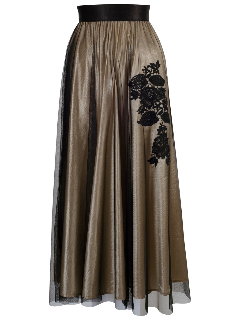 Lined Mesh Skirt, Gold - pattern: plain; style: full/prom skirt; length: ankle length; fit: loose/voluminous; waist: high rise; predominant colour: gold; secondary colour: black; occasions: evening, occasion; fibres: polyester/polyamide - 100%; hip detail: subtle/flattering hip detail; texture group: sheer fabrics/chiffon/organza etc.; pattern type: fabric; embellishment: embroidered; season: a/w 2014; wardrobe: event; embellishment location: hip, waist