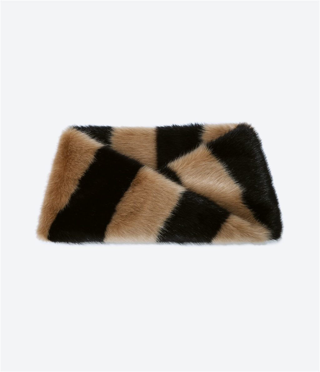Crossover Snood - secondary colour: chocolate brown; predominant colour: camel; occasions: casual, occasion, creative work; type of pattern: heavy; style: snood; size: standard; material: fur; pattern: striped; embellishment: fur; season: a/w 2014